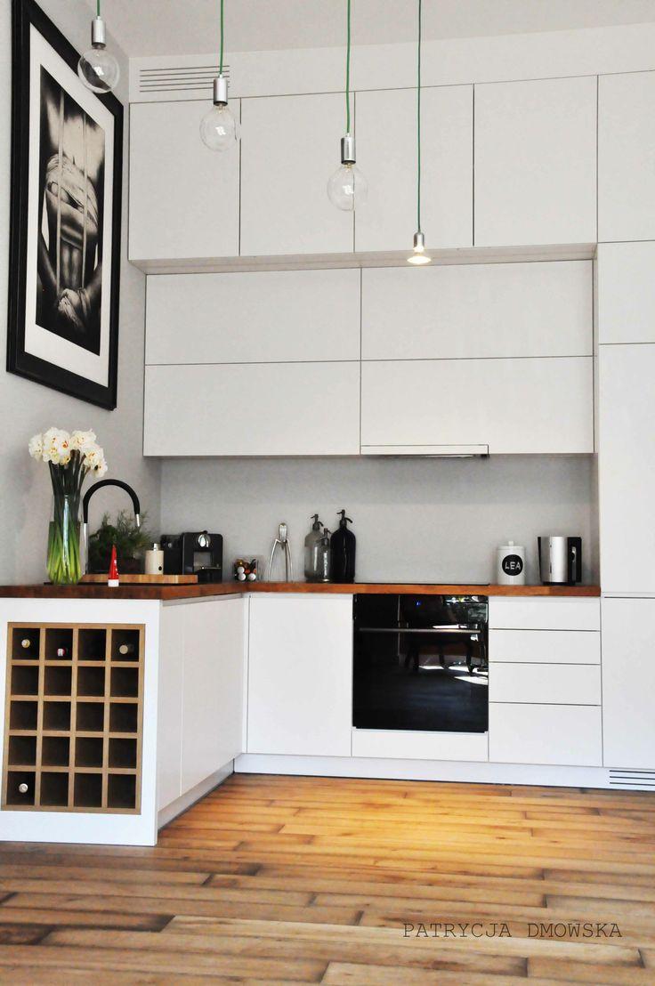 light grey modern kitchen, countertop wood oak  interior design by Dmowska Design