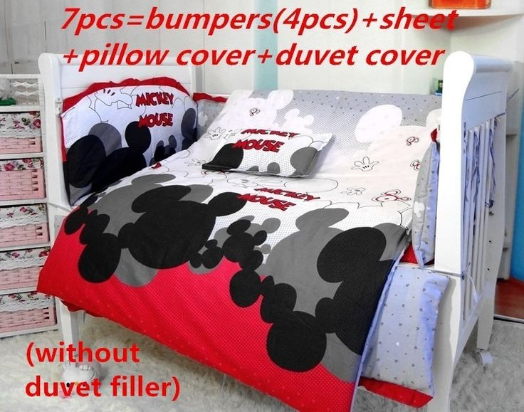 61.90$  Buy here - http://aliyjg.worldwells.pw/go.php?t=32323612563 - Promotion! 7PCS Mickey Mouse bumpers for cot bed Baby Bedding Crib Set,Cot Bedding (bumper+sheet+pillow cover+duvet cover))