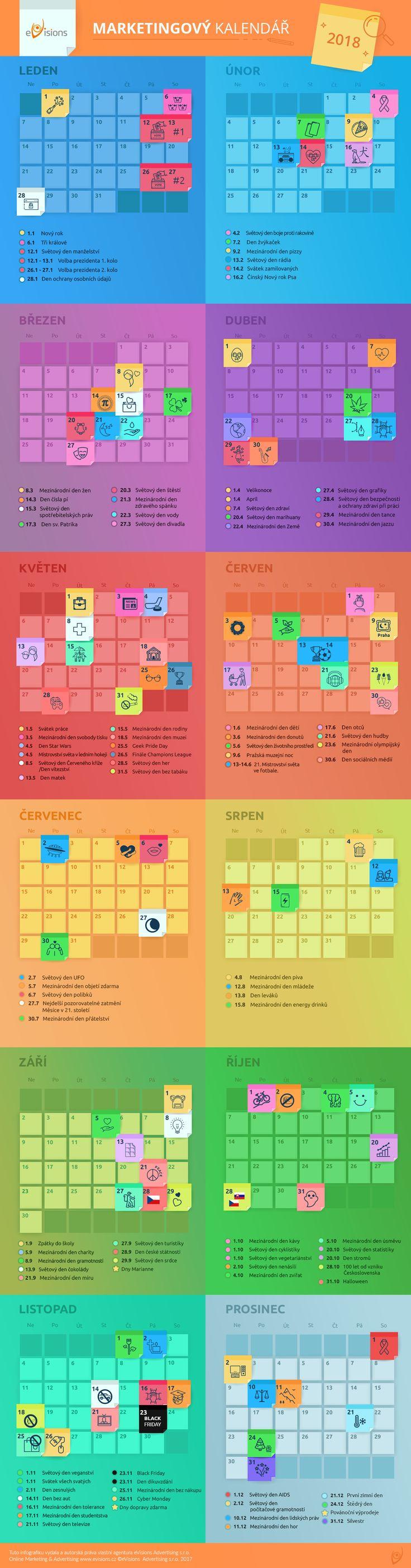 Marketing calendar 2018  #evisionscz #socialmedia #calendar #onlinemarketing #infographics #marketingcalendar #onlinemarketing #digitalmarketing #seoagency #marketing #infographic #infographic_marketing