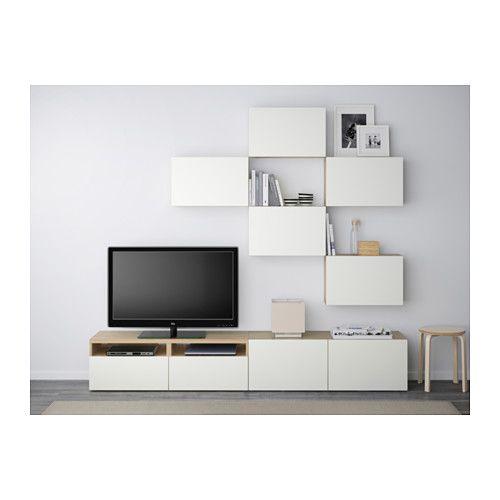 BESTÅ TV storage combination - white stained oak effect/Lappviken white, drawer runner, soft-closing - IKEA