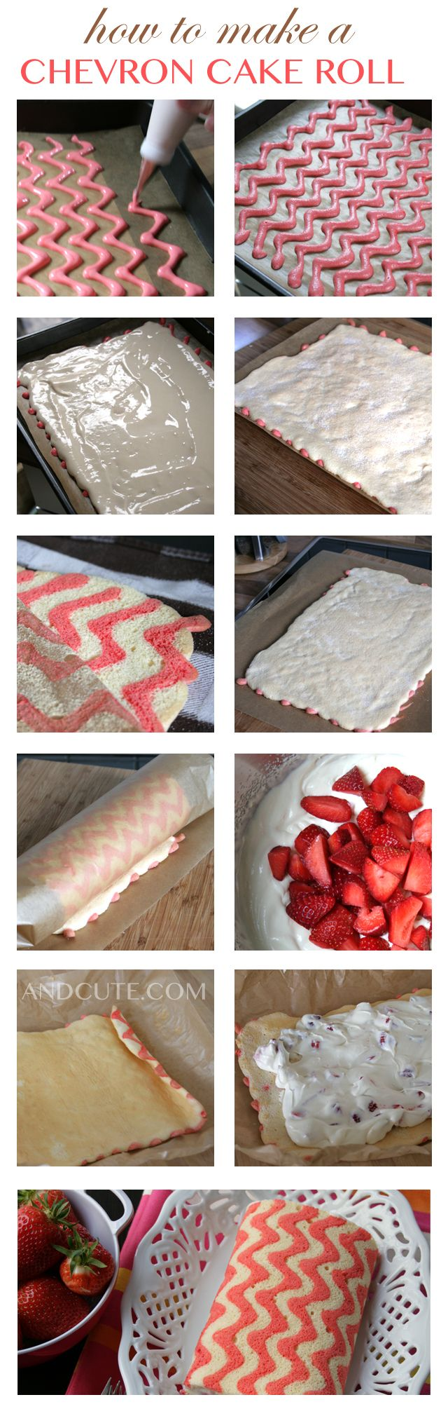 4 egg whites 4 egg yolks 70g fine sugar 10g sugar 6g vanilla sugar (or 1/2 tsp. vanilla extract) 70g flour food color Filling 1 and 1/2 cups white chocolate (chopped) 1 cup heavy whipping cream 3/4 cup fresh strawberries (quartered)