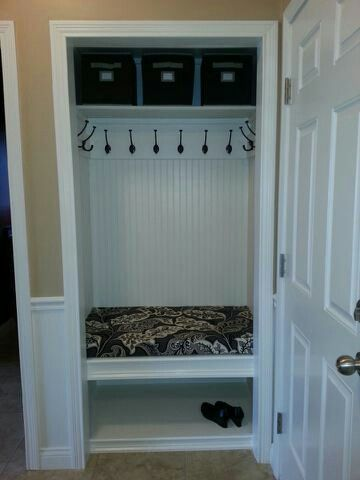 Closet to Mud-room. Bye-bye to the old boring coat closet and HELLO to the organizied, USEFUL space in this mini mud room.