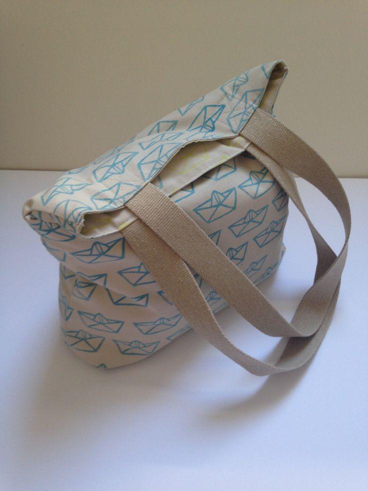 Hepphabit block printed canvas tote bag - boat