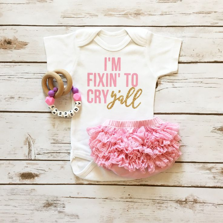 Fixin' To Cry Y'all Sparkle Onesie | Baby Girl Clothes | Southern Sparkle Shirt | Browse the entire selection at www.shopcassidyscloset.com