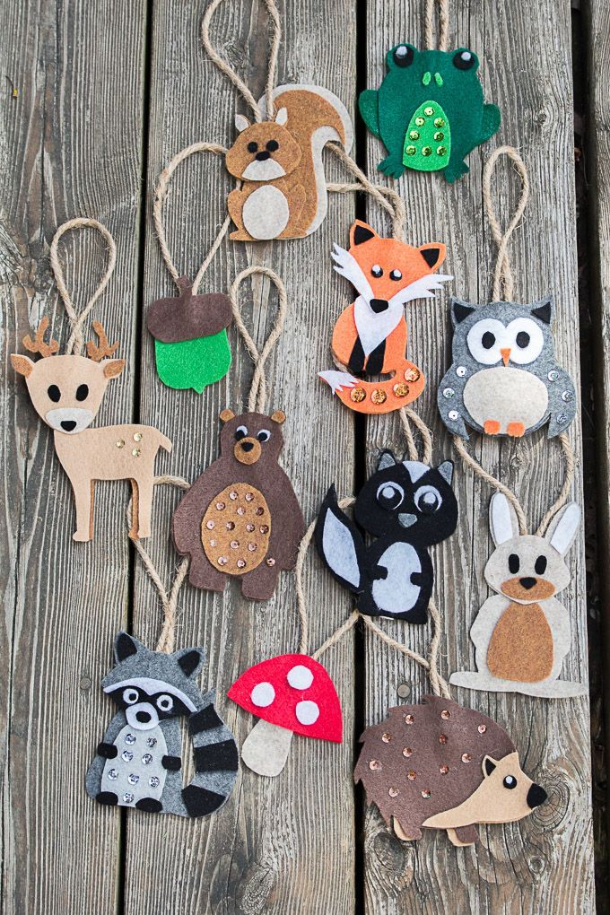 10 Woodland Animals Pattern Felt Ornaments Pdf No Sew