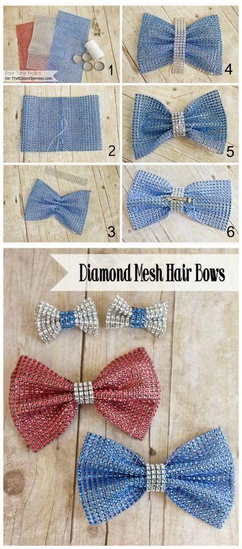 4th of July Diamond Mesh Hair Bows - The Ribbon Retreat Blog