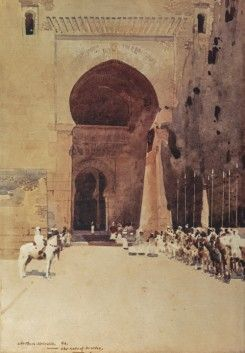 Drawing on Melville's experiences of Spain and Moorish architecture, this work also shows the influence of the Italian Orientalist Alberto Pasini (1826-99), who often painted mounted troops guarding the gates of eastern cities, although the tawny palette and near-abstract handling are distinctly Melville's own.
