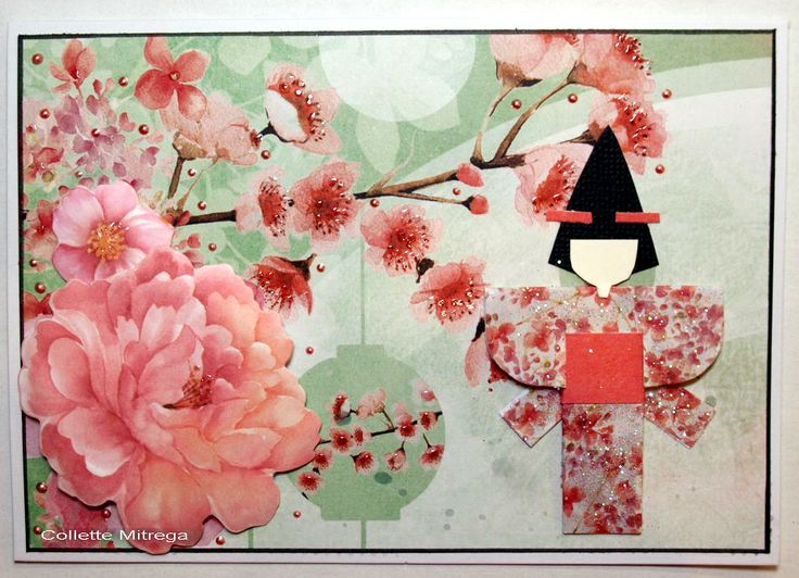 """Geisha"" Card Collette Mitrega DT Kaisercraft ""Cherry Blossom Collection - Cards - Clean & Simple."