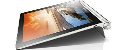 Lenovo ideó un diseño diferente, funcional y atractivo a la vista con su nueva Yoga Tablet, un dispositivo portátil con pantalla HD de 10 pulgadas (disponible también en 8 pulgadas), procesador de cuatro núcleos a 1.2GHz, cámara de 5 megapixeles y batería con un rendimiento de hasta 18 horas.