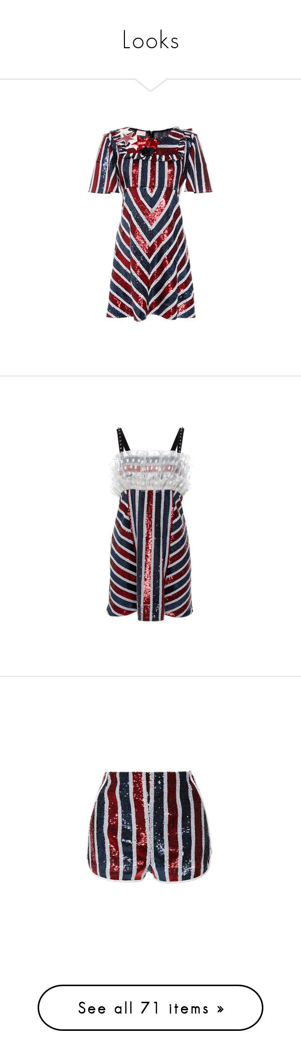 """""""Looks"""" by yaseumin ❤ liked on Polyvore featuring dresses, co-ord, embelished dress, embellished dresses, short sleeve sequin dress, striped mini dress, flare dress, no sleeve dress, frill dress and striped sequin dress"""