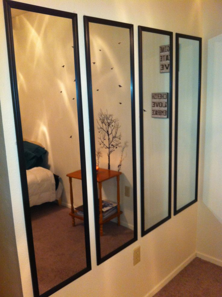 Have an empty wall? Cover it will slim mirrors, they are cheap and easy to hang. This will have all your guests talking, plus it really adds a lot to your room. These mirrors can be purchased at Target or Wal-Mart.