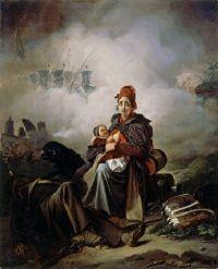 J.J. Eeckhout, 'Oorlogsleed', 1826. Een marketentster met haar baby, bij het lichaam van haar gesneuvelde echtgenoot (Legermuseum, Delft)