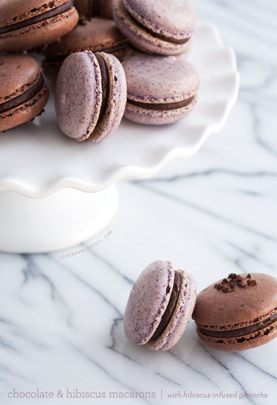 Chocolate & Hibiscus Macarons with Hibiscus-Infused ...