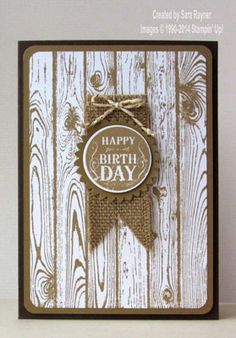 handmade card: Masculine Blue Ribbon birthday card using Stampin' Up! supplies ... kraft and white with twine and burlap ... Western look ...