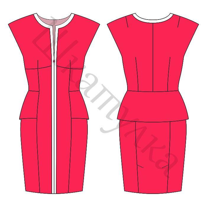 Muster-Kleid mit einer flachen Schulter