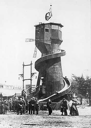 The Helter Skelter at the Scottish National Exhibition,   Saughton Park, Edinburgh, 1908   ~ did it double-up as a windmill?!