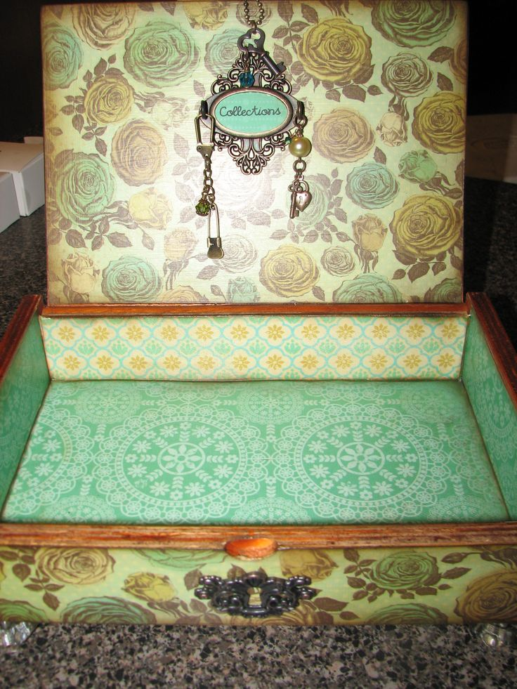 Handcrafted decoupage cigar box