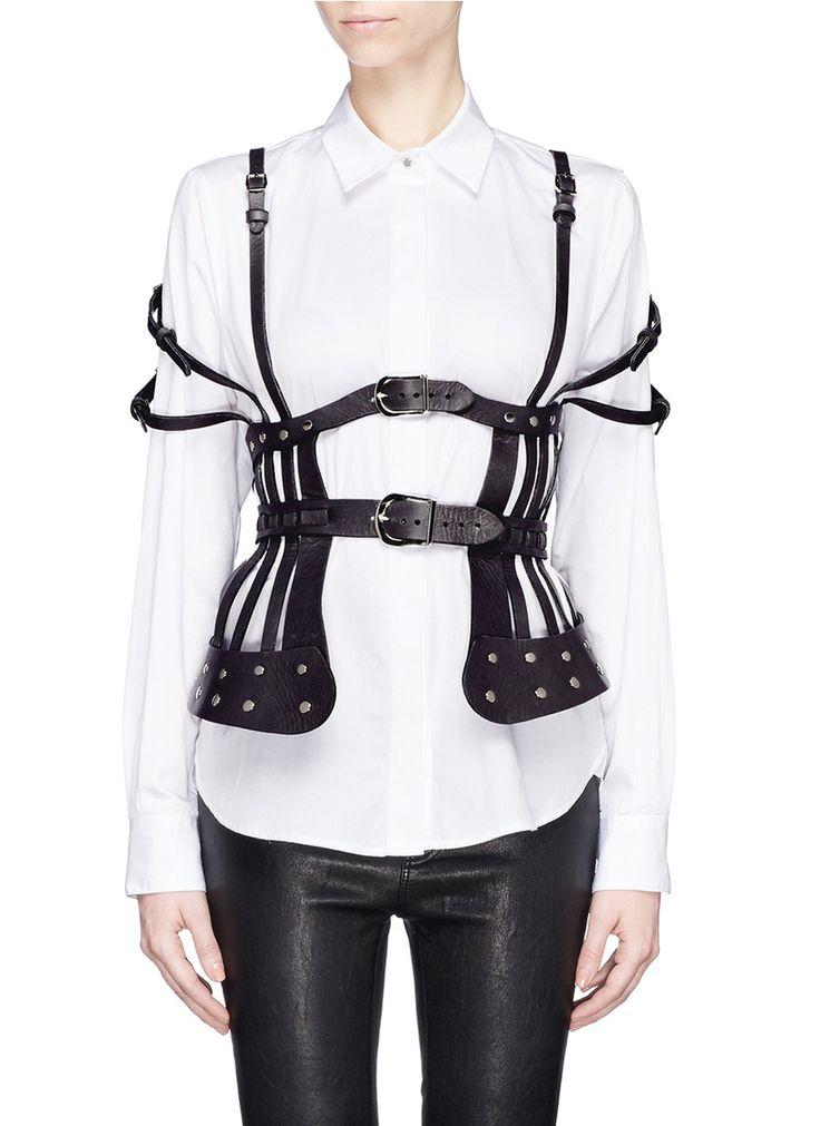 ZANA BAYNE - 'Tidal' leather peplum harness | Grey Belts | Womenswear | Lane Crawford - Shop Designer Brands Online
