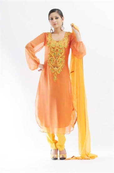 Chiffon Yellow and Orange TROUSERS and kameez. The kameez is in lovely bright orange with a mulitcoloured embroidery and sequin workl on the front of the shirt which is round cut from the hem.  The sleeves are sheer orange . The TROUSERS and dupatta are a dark yellow.  £55