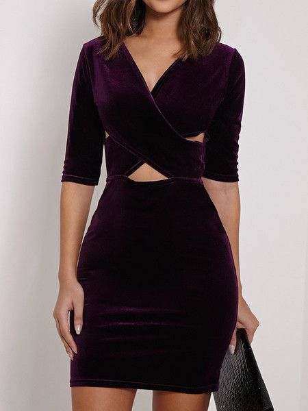 COLOR: Purple DETAIL: Cut out DRESSES LENGTH: Mini MATERIAL: Velvet NECKLINE: V neck PATTERN TYPE: Plain SILHOUETTE: Bodycon SLEEVE LENGTH: Half sleeve Size Availables: S:Bust:80cm,Waist:64cm,Length:80cm M:Bust:84cm,Waist:68cm,Length:81cm L:Bust:88cm,Waist:72cm,Length:82cm XL:Bust:92cm,Waist:76cm,Length:83cm