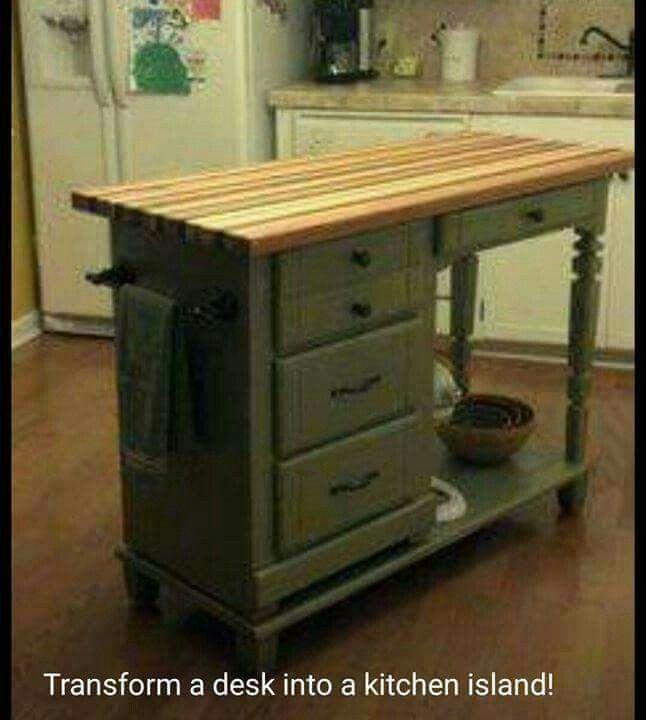 Transform a desk into a kitchen island...what a great idea!