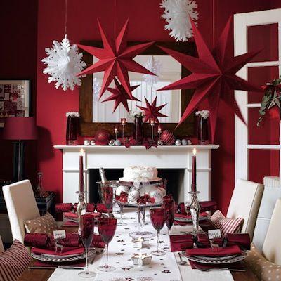 idée déco de table de Noël rouge et blanc