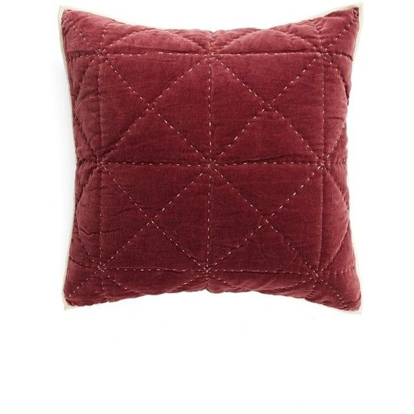 Nordstrom At Home 'Davie' Quilted Velvet Euro Sham ($69) ❤ liked on Polyvore featuring home, bed & bath, bedding, bed accessories, burgundy crush, quilted euro sham, quilted euro pillow shams, quilted bedding, nordstrom bedding and burgundy bedding