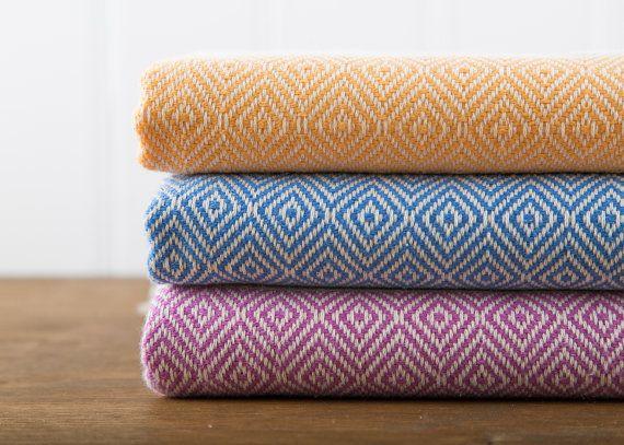 Bath Towel, Turkish Towel, Peshtemal, Hammam Towel, Mango, Cornflower, Lilac