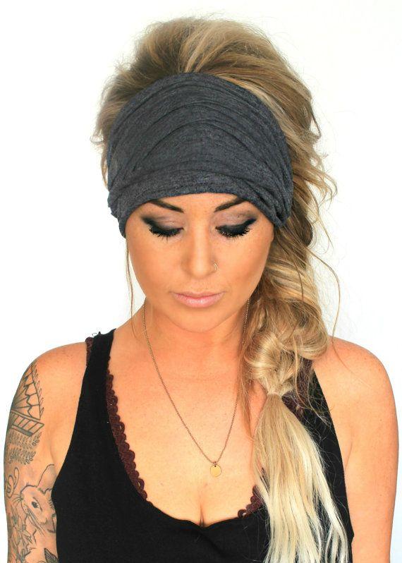 Soot Scrunch Headband Extra Wide Headband Jersey Headband