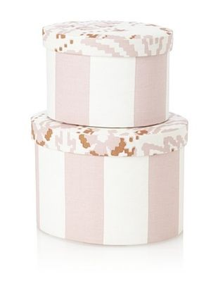 48% OFF Image By Charlie 2-Piece Cotton Sateen Round Boxes, Floral, Taupe and Off-White