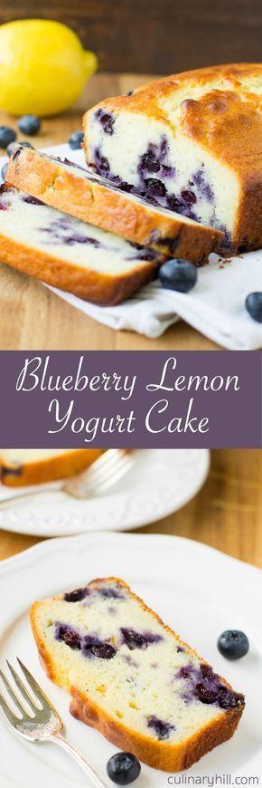 Lemon Yogurt Cake recipe with fresh blueberries and rich Greek yogurt.