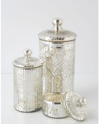 With just a hint of shine, these mercury jars are great for containing countertop clutter. Get them here: http://www.bhg.com/shop/anthropologie-monarch-mercury-jar-p5094641ce4b0b4696e25e91e.html: