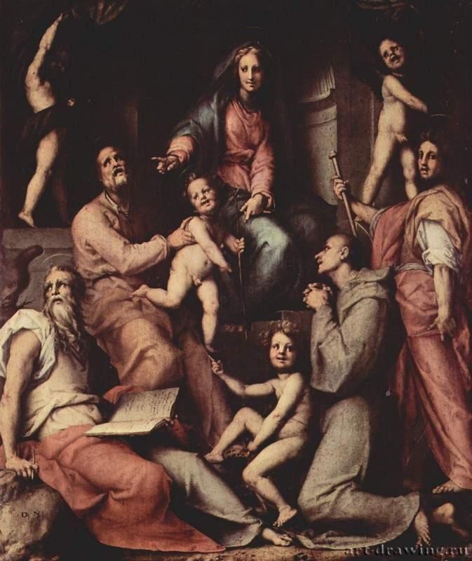 Понтормо. Алтарь Пуччи. Мадонна на троне, ангелы и святые. 1518  Флоренция. Церковь Сан Микеле Висдомини Тосканская школа, заказчик - Франческо ди Джованни Пуччи