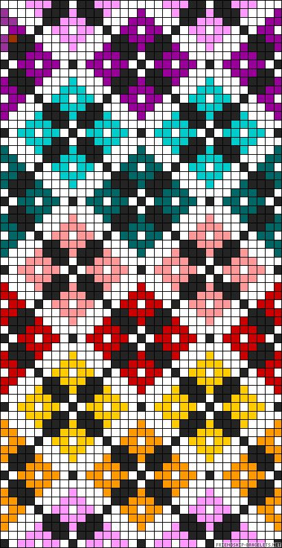 Diamonds plaid rainbow bead pattern