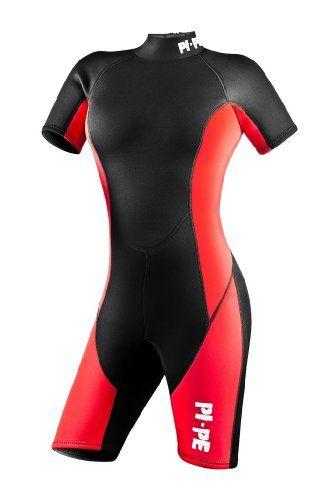 Pi-Pe - Traje corto de buceo (neopreno, para mujeres) rojo rojo Talla:medium Para ver mas visita este enlace https://cadaviernes.com/ofertas-de-trajes-de-neopreno/