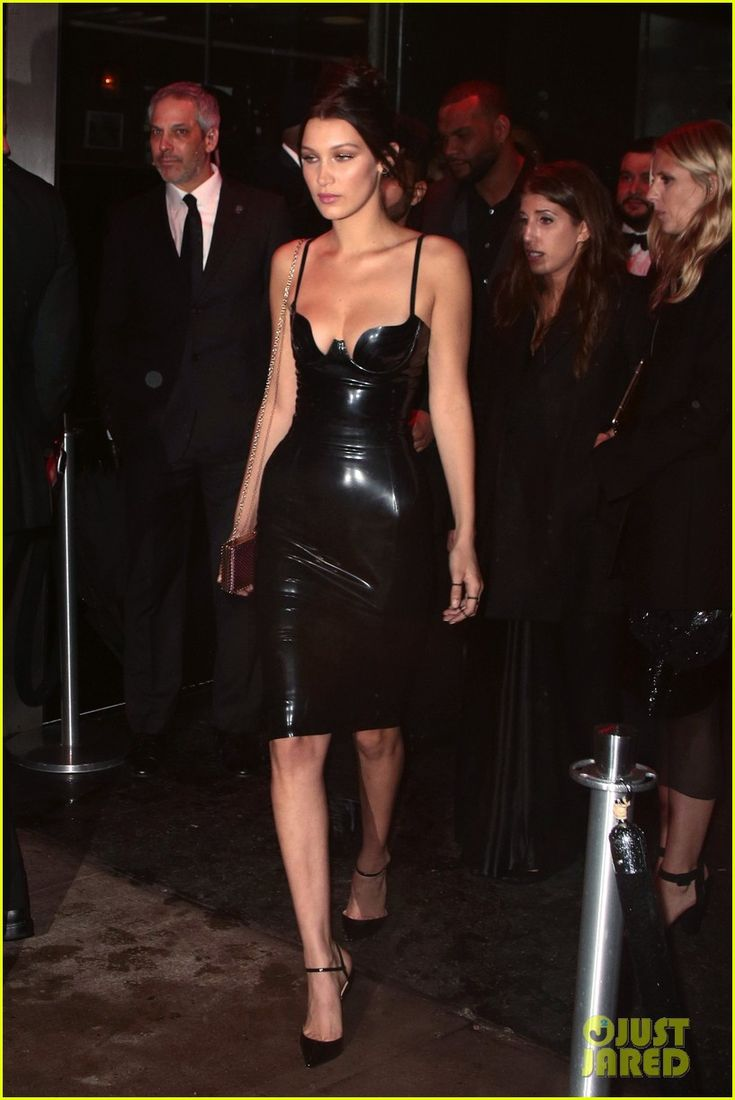 Bella Hadid Sports Sexy Latex Dress for Met Gala 2016 Party | bella hadid 2016 met gala after parties 04 - Photo