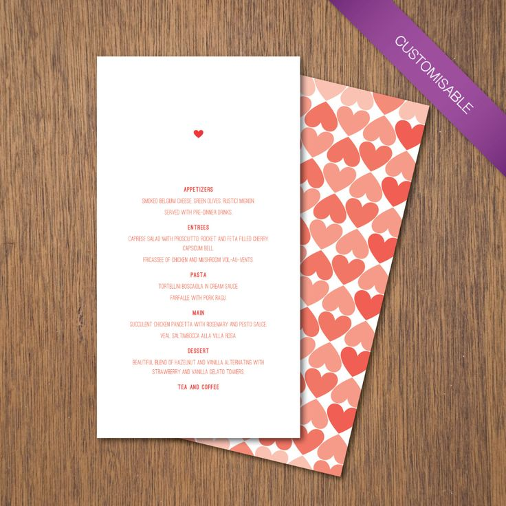 Simple Love - Menu | DIY Printable by myPaperCraftsau on Etsy  | See the complete set here - http://etsy.me/1c8IXWH