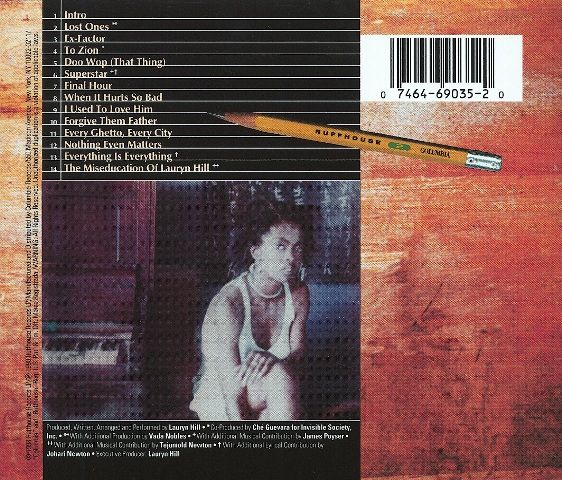 The Miseducation Of Lauryn Hill Back Cover The Art Of