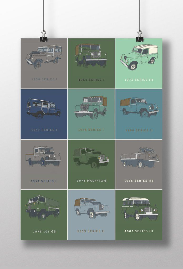 Classic Land Rover Model Range Print – Retro Eighty Design