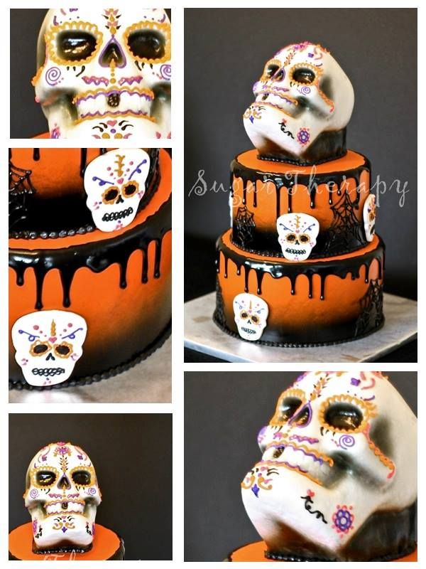 mexican halloween skull cake by sugar therapy - Mexican Halloween Skulls