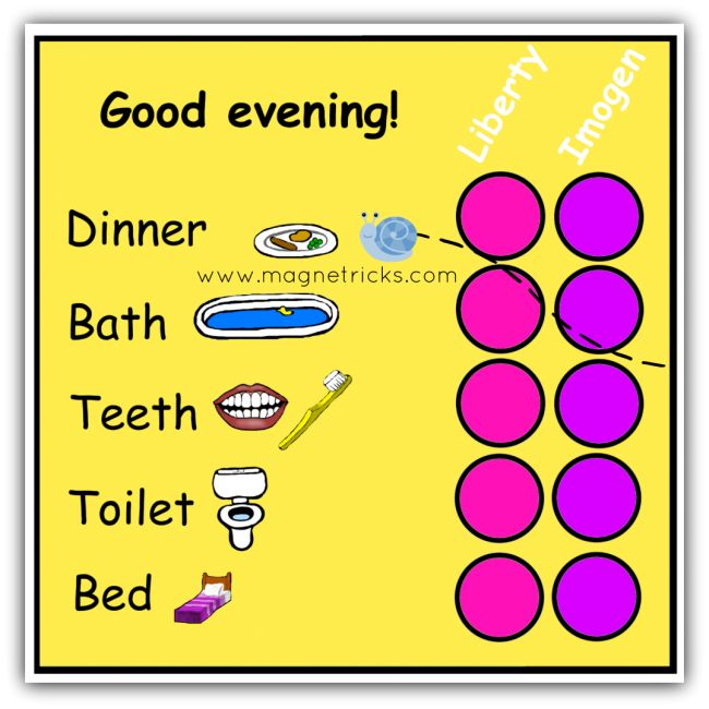 Evening routine with stars magnetic chart