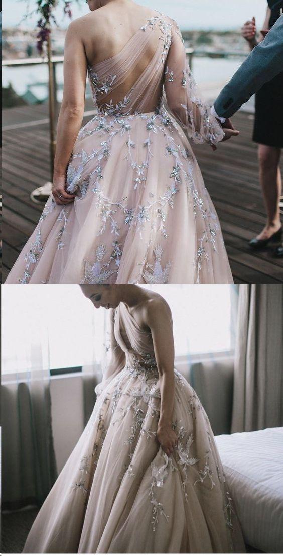 Unique Long Sleeve Prom Dresses One Shoulder A-line Sparkly Prom Dress Long Evening Dress JKL1300