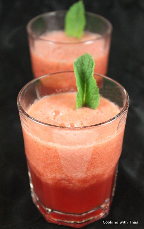 Refreshing Mint Watermelon Summer Drink I plan on adding in some  VODKA and soda water!  3 cups water melon; 5 mint leaves; 1 cup of VODKA! Blend and then place in freezer. Keep stirring every so often for slushies. Scoop in to glasses add soda water; IT'S PARTY TIME!