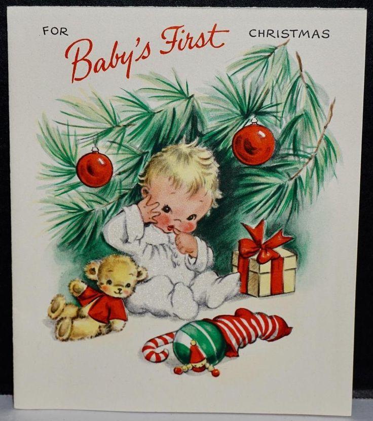 Vintage 1948 UNUSED Hallmark Greeting Card Flocked Baby's