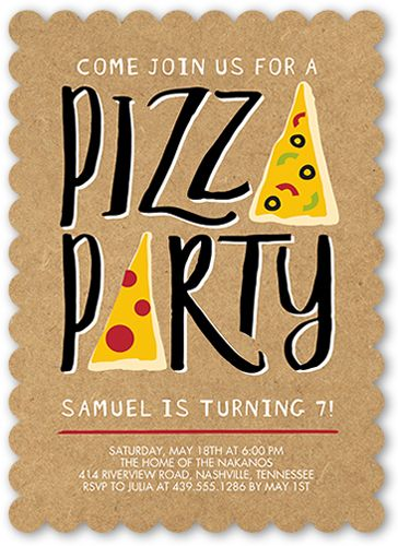 Birthday Invitations: Pizza Party, Scallop Corners, Beige