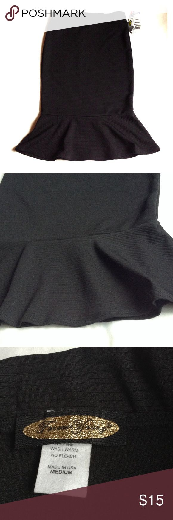 "Forever Young Black Peplum Skirt Forever Young Black Peplum Skirt. Elastic waistband. Measurement laying flat: waist 13"" and length 25 1/2"" Forever Young Skirts"
