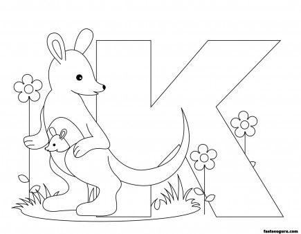Printable Animal Alphabet worksheetsLetter K for Kangaroo - Printable Coloring Pages For Kids