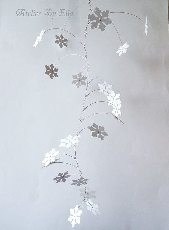 Paper snowflakes mobile Kinetic mobile Home decor by AtelierByElla, $55.00