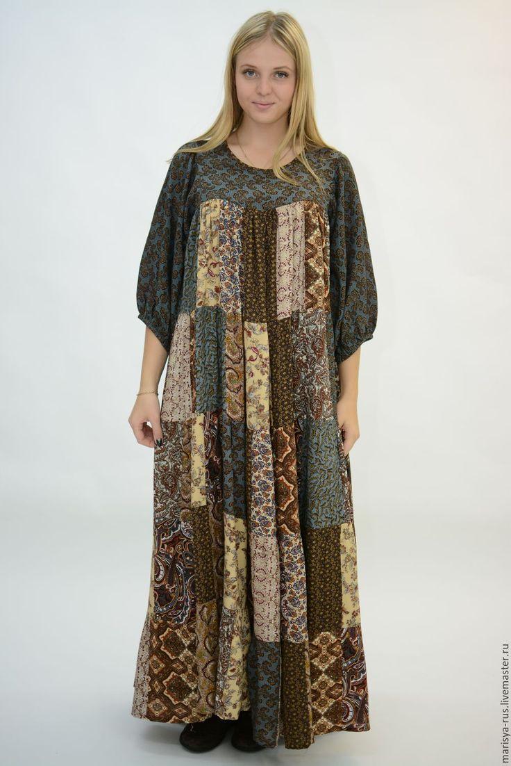 """Купить Лоскутное платье """"Седой песок"""" - коричневый, орнамент, платье, Платье нарядное, лоскутное шитье"""