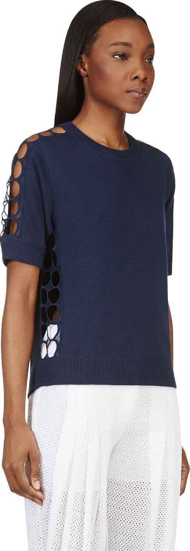 Chloé - Navy Cashmere Knit & Silk Lace Iconics Top | SSENSE